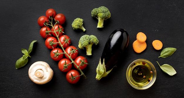 Arrangement of delicious fresh vegetables
