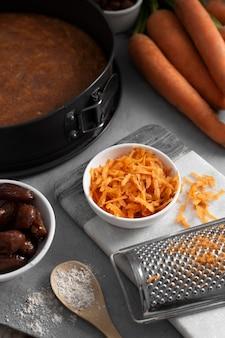 Arrangement of delicious healthy dessert with carrot
