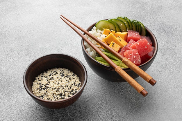 Arrangement of delicious poke bowl