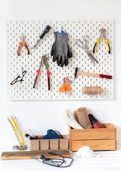 Arrangement of different artisan workshop objects