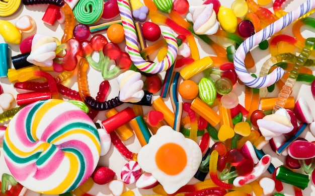 Arrangement of different colored candies