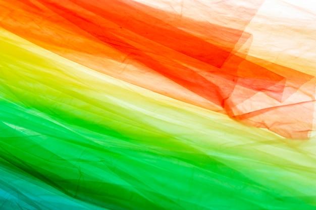 Arrangement of different colored plastic bags