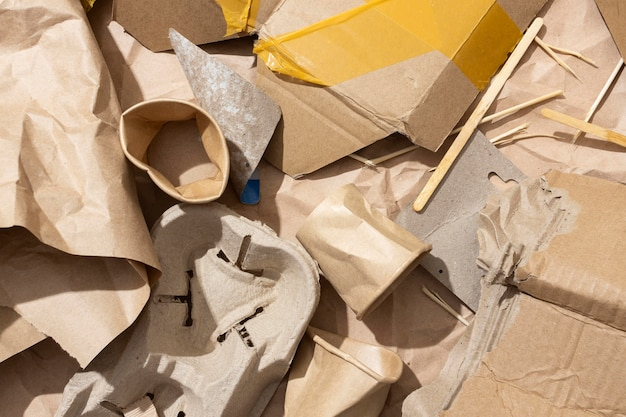 Arrangement of different trashed objects
