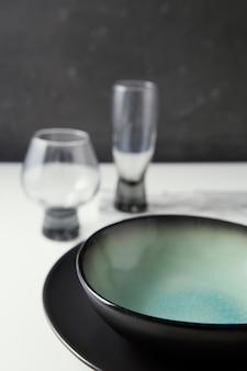 Arrangement of elegant tableware on the table