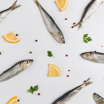 Arrangement of fish and lemon