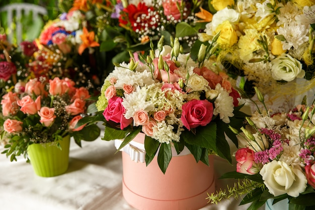 Arrangement of fresh flowers bouquets