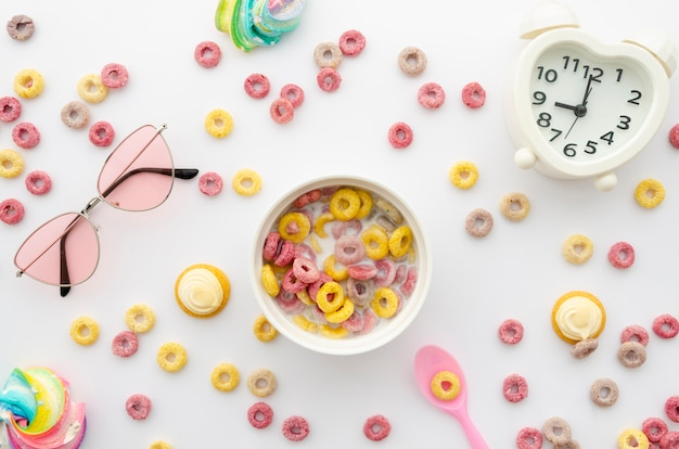 Arrangement of fruit cereal loops with decor
