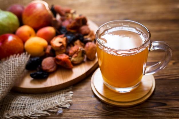 Arrangement of fruits and fresh juice