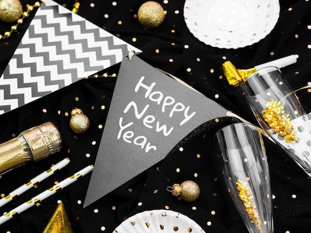Arrangement of garlands with new year lettering