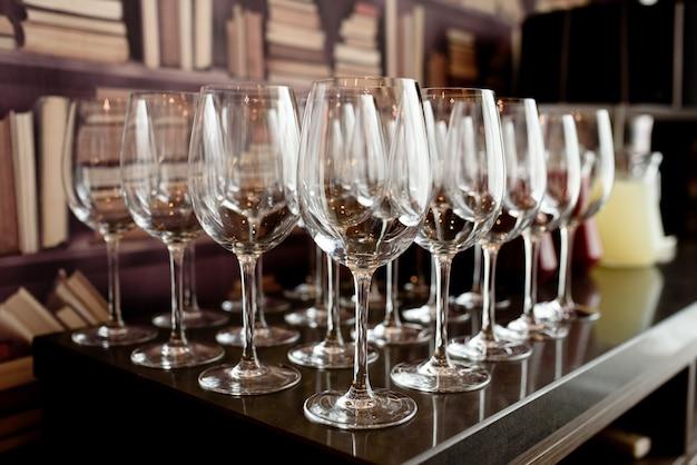 Arrangement of glasses for wine.