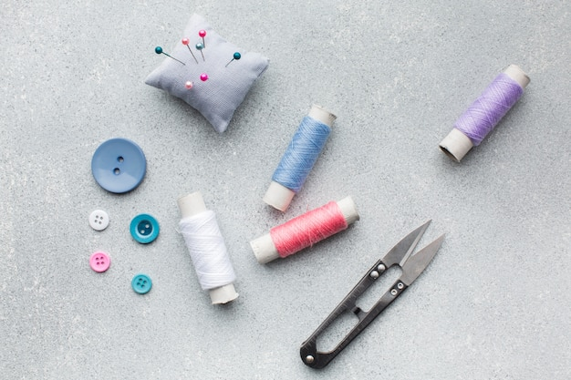 Arrangement of haberdashery colourful accessories