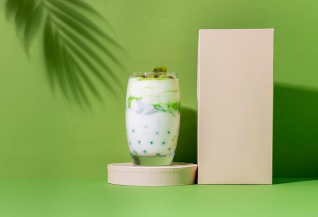 Arrangement of healthy breakfast meal with yogurt