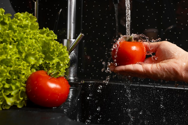 Arrangement of healthy food being washed