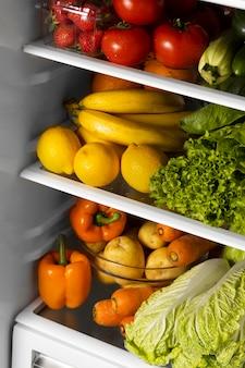 Arrangement of healthy food in the fridge