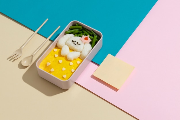 Arrangement of healthy japanese bento box