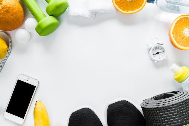 Arrangement of healthy lifestyle objects