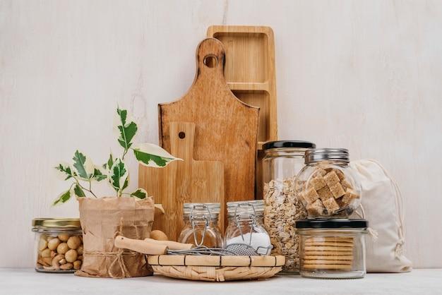 Arrangement of jars full of food ingredients