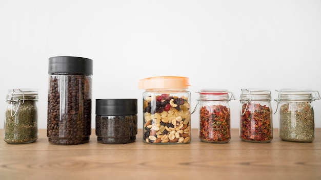 Arrangement of jars with different ingredients