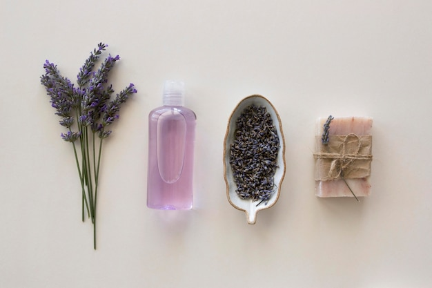 Arrangement of lavender spa natural cosmetics