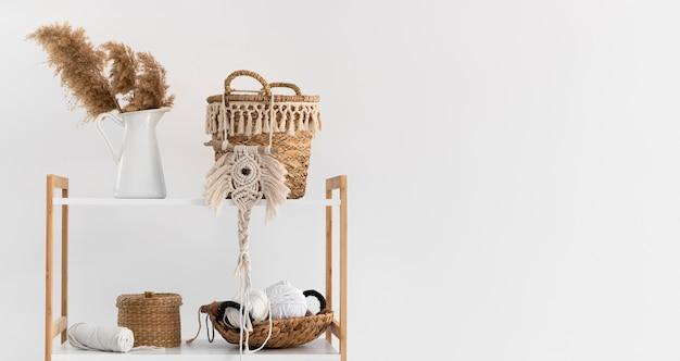 Arrangement of macrame handmade object