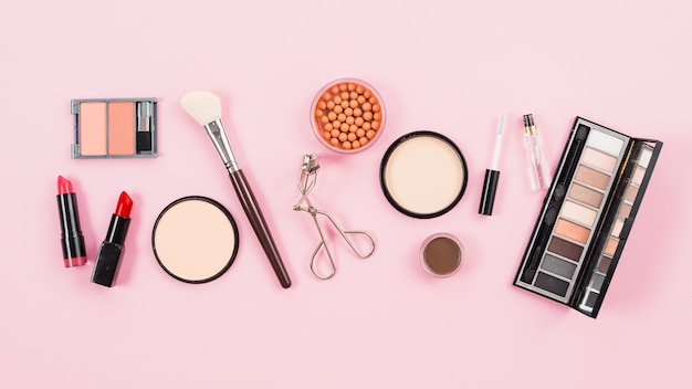 Arrangement of makeup and cosmetic beauty products