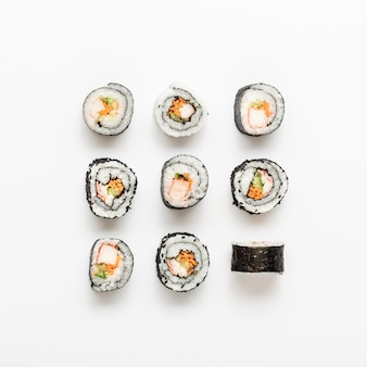 Arrangement of maki sushi rolls