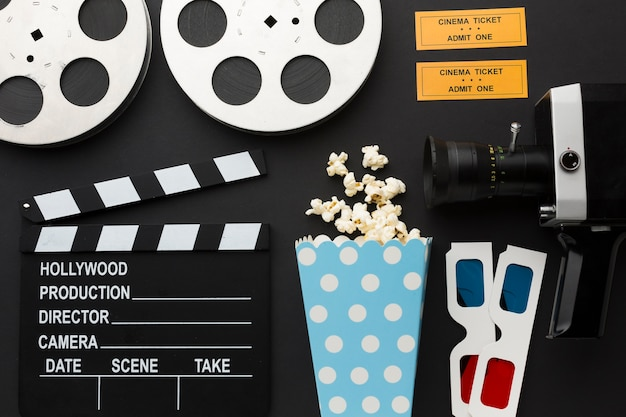 Arrangement of movie elements on black background