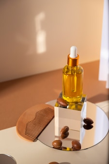 Disposizione del contagocce di olio di argan naturale