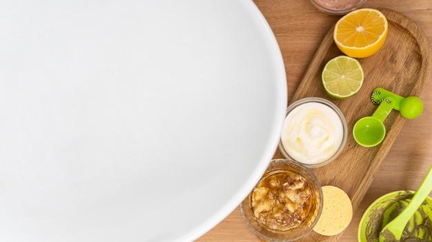 Arrangement of natural ingredients for face masks