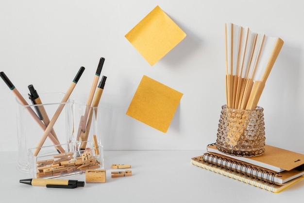 Arrangement of natural material stationery
