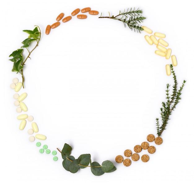 Arrangement of natural pills and plants