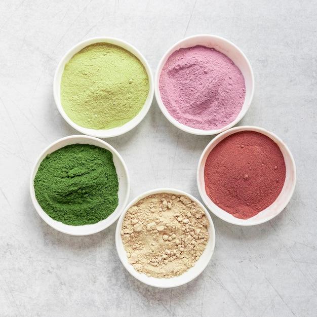 Arrangement of natural spa sand in bowls