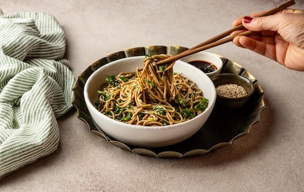 Arrangement of noodles on a table