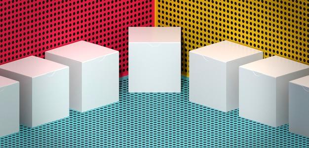 Композиция из картонных коробок на фоне комиксов