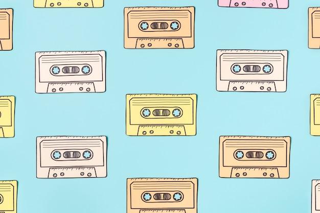 青のカセットテープの配置
