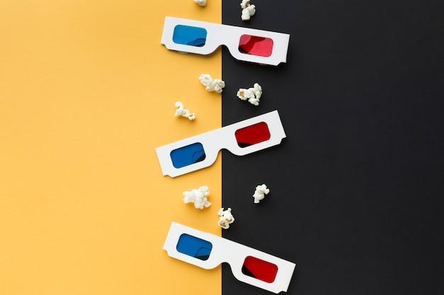 Расположение объектов кино на двухцветном фоне