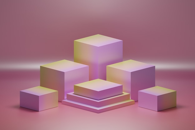Композиция из кубиков постаментов цвета градиента розового и желтого цветов