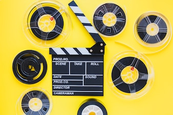 Arrangement of film reels and clapboard