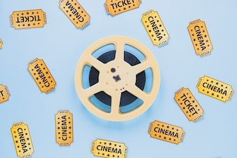 Arrangement of filmstrip and tickets