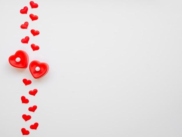 Расположение сердец с копией пространства