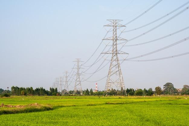 Расположение высоковольтного столба высоковольтной опоры на рисовом поле в сельской местности