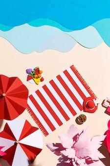 さまざまな素材で作られたサマービーチのアレンジメント