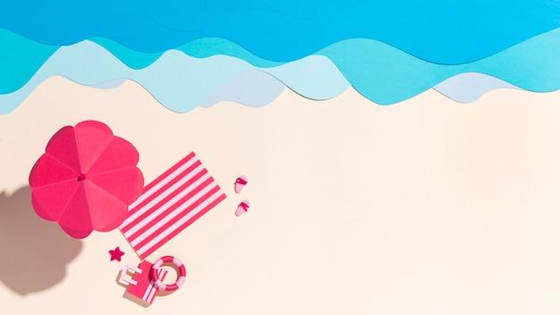 다양한 소재로 만든 여름 해변 배치