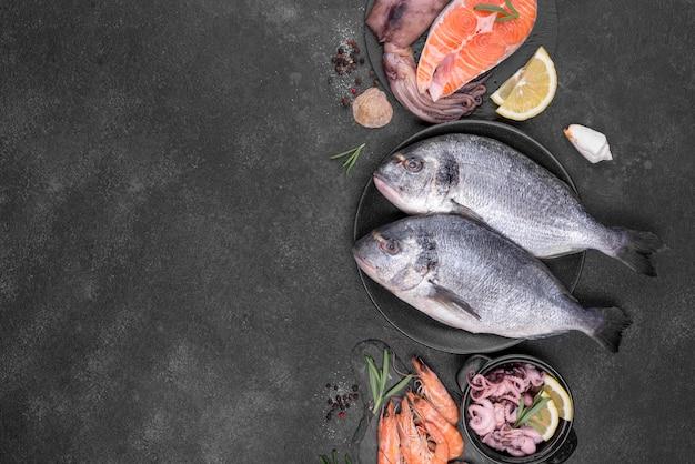 さまざまな種類の魚のフラットレイアウトの配置