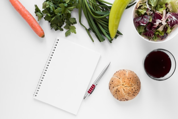 Arrangement organic food with drink