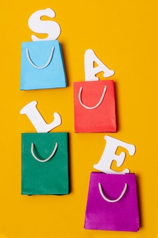 Arrangement of paper bags and letters