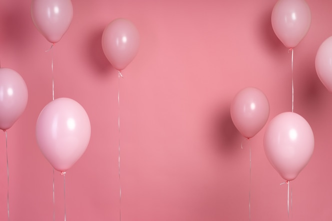Arrangement of pink balloons with copy space