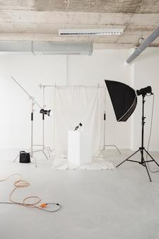 Arrangement of professional photographer equipment