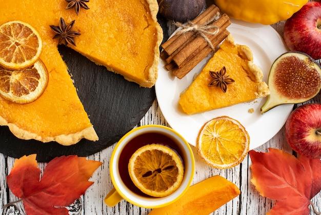Arrangement of pumpkin pie autumn food