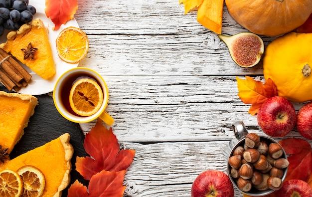 Arrangement of pumpkin pie and fruit